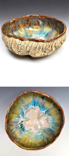 Large Hand Built Ceramic Bowl in River Journey by hope Rustic Ceramics, Modern Ceramics, Hand Painted Ceramics, Pottery Bowls, Ceramic Pottery, Pottery Art, Glazed Ceramic, Ceramic Bowls, Urban Rustic