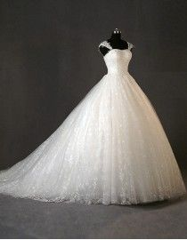 Glamour sweetheart cap sleeves lace appliques pearls beaded a-line sweeping wedding dresses 5w-189