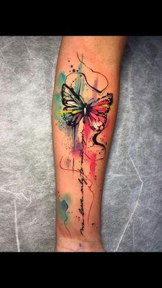 Aquarell Schmetterling Tattoo Tattoos And Body Art dragonfly tattoo designs Watercolor Dragonfly Tattoo, Dragonfly Tattoo Design, Butterfly Watercolor, Tattoo Designs, Watercolor Tattoo Sleeve, Art Designs, Watercolor Lion, Forearm Tattoos, Body Art Tattoos