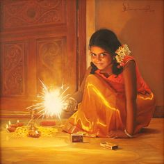 Tamil girl bursting crackers on Deepavali festival - Painting by S. Elayaraja