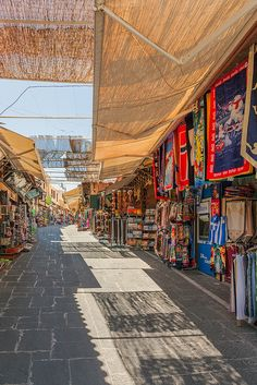 Rows of markets line a street in the Old Town of Rhodes, Greece