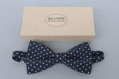 Navy Blue Bow Tie /  Polka Dot Pre Tied Bow Tie / by BugAndPepper