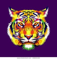 Find Colorful Tiger Head Dark Purple Background stock images in HD and millions of other royalty-free stock photos, illustrations and vectors in the Shutterstock collection. Thousands of new, high-quality pictures added every day. Colorful Animal Paintings, Colorful Animals, Pop Art Party, Dark Purple Background, Motorcycle Paint Jobs, Tiger Design, Tiger Head, Arte Pop, Paintings