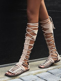 New beautiful Flat Sandals Bohemian Style Booties Cross-Tie Fringe Flat Gladiator Sandals Women Summer High Boots Shoes Leather Sandals, Flat Sandals, Flat Shoes, Beige Sandals, Mens Flip Flops, Nylons, Beach Shoes, Leggings, Girls Shoes