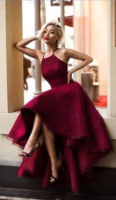 Chic Prom Dresses Sexy Halter Burgundy Lace Prom Dress/Evening Dress JKL068