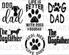 Cat Dad Father's Day Bundle SVG for Cricut/Silhouette The Dog Father, Doodle Lettering, Cat Dad, Vinyl Designs, Shirt Designs, Animal Projects, Silhouette Designer Edition, Silhouette Cameo Projects, Dog Quotes