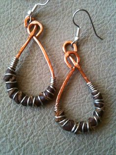 Hammered copper wire with  silver wire wrapped around  genuine leather earrings by BLLstudio
