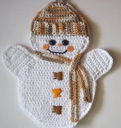 Crochet Snowman Potholder Decoration