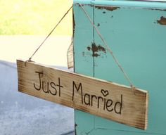 Rustic Old Barn Wood Hand Engraved Just Married $34.99
