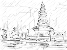 Sketch of a temple in Bali by podosuko on deviantART