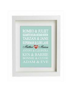 Personalized Couples Gift - Art Print Name - Famous Lovers - custom wedding gift - engagement gift, Bridal Shower Gift via Etsy