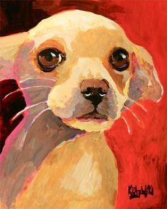Chihuahua Art Print of Original Acrylic Painting  by dogartstudio, $24.50