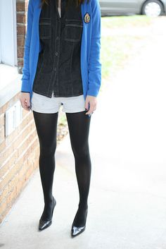 Tights shorts and a long sweater