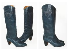 US 95/EU 41 70s Vintage Boots Cyan Green Blue by vintagevonwerth, €79.90