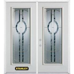 67 inch x inch Stephany Brass Full Lite Prefinished White Left-Hand Inswing Steel Prehung Double Door with Astragal and Brickmould Steel Doors, Wood Doors, Polyurethane Foam Insulation, Entry Doors With Glass, Steel Panels, White Doors, Types Of Doors, House Windows, House Entrance