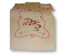Vintage Western Cowboy Chenille Bedspread Blanket Quilt & Four Curtain Panels