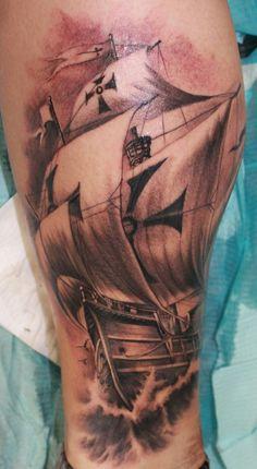 Ivano Natale/Goodfellas Tattoo, Orange, CA Black And Grey Sleeve, Black And Grey Tattoos, Pirate Boat Tattoo, Goodfellas Tattoo, Great Tattoos, Skin Art, Get A Tattoo, Tattoo Inspiration, Tattoo Artists