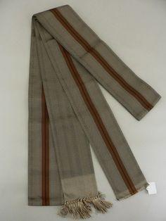 Brown, Weave Pattern Kakuobi for MEN / 茶系 細かな織り柄の洒落た角帯   【リサイクル着物・アンティーク着物・帯の専門店 あい山本屋】#Kimono #Japan