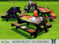 For picnic and not only, these colourful bohemian benches will make all the difference in your game Found in TSR Category 'Sims 4 Miscellaneous Recolors'