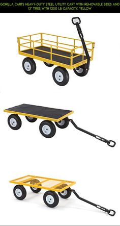 "Gorilla Carts Heavy-Duty Steel Utility Cart with Removable Sides and 13"" Tires with 1200 lb Capacity, Yellow #camera #utility #cart #parts #plans #fpv #products #technology #drone #gardening #gadgets #tech #kit #racing #shopping"