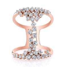 "14KT Rose Gold Diamond Lace Ring Wide Diamond Ring Ring measures approximately 1"" in height"