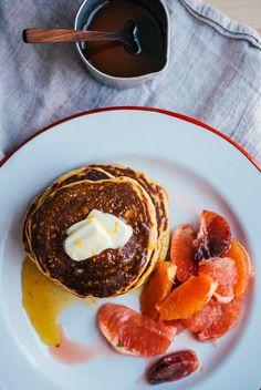 Cornmeal pancakes with honey orange syrup