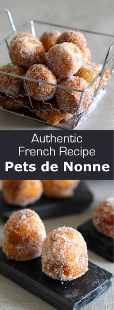 Nun's puffs are small beignets made of choux pastry consumed all year round, but also more particularly during Mardi Gras in France. World Cuisine French Donuts, French Pastries, French Food, Italian Pastries, Small Desserts, Mini Desserts, Just Desserts, Gourmet Desserts, Meringue Desserts