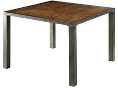 Furniture of America Sun & Pine Brooke Industrial Plank Top Counter Height Table - Weathered Oak