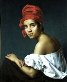 Portrait of a Creole. Note the tignon here that identifies her as such. Her gaze at the view is inviting and demands respect, although there is perhaps sexuality in her eyes and the light smile.