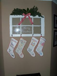 Christmas stocking holder. I like the old window idea as the holder especially if you dont have a fireplace mantle