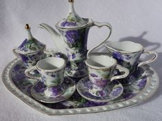 BEAUTIFUL COLLECTIBLE DECORATIVE PORCELAIN TEA SET- PURPLE ROSES ON HEART TRAY picclick.com