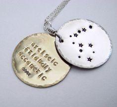Constellation necklace, Aquarius, Pisces, Aries, Taurus, Gemini, Cancer, Leo, Virgo, Libra, Scorpio, Sagittarius, Capricorn. $65.00, via Etsy.