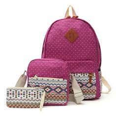 0d2c65f64669 AEQUEEN 3 PCS Set Women Backpack Canvas Printing School Bags For Teenagers  Girls Laptop Backpacks