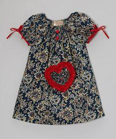 Navy & Red Paisley Heart Dress - Toddler & Girls by Lele Vintage #zulily #zulilyfinds