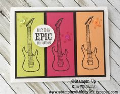 Stampin Up Epic Celebration Stamp set. Sale a Bration 2018, Occasions Catalog 2018. Kim Williams, Stampin with Kjoyink. Pink Pineapple paper crafts. Great masculine card. Birthday card idea for men or birthday card for boys. Guitars and sneakers are so cool.
