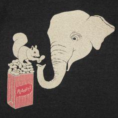 Elephant and Squirrel - Unisex Mens T-shirt Tee Shirt Cute Peanut Peanuts Adorable Red Circus Zoo Animal T-shirt - Tri Black - S, M, L, XL