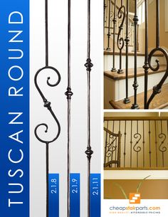 The Tuscan Round Hammered balusters are hand hammered into a round shape and no two balusters will look alike. No other supplier has a round hammered product. Hammered products provide a very Old World look and go great in Traditional style homes. Railing Design, Stair Railing, Stairs, Iron Balusters, Traditional Style Homes, Staircase Remodel, Staircases, Old World, Gate