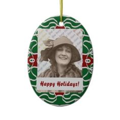 Christmas Bandanna photo display ornament from Jan4insight* - Colors of the season, easy to personalize with your favorite photo. You can easily change the text as well. Make your own very special Christmas keepsake! $15.65