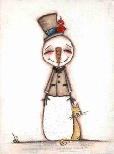 3 Print Set of my original folk art childrens paintings - 2011 Snowman