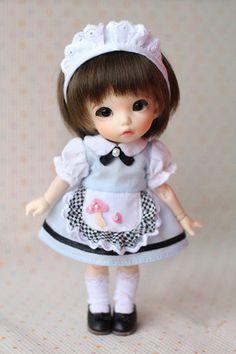 BJD outfit doll dress little Mushroom maid's uniform for Puki fee Yosd Pullip Blythe Lati yellow