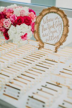 Where in New York are you sitting? Fun wedding seating idea!