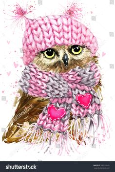 Cute Owl watercolor illustration for Tee shirt graphics, fashion print, poster, textiles