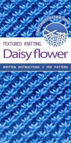 KnittingStitches -- The Art of Knitting, knit Daisy flower stitch #knittingstitches #knitpurl