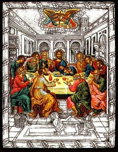 Silver Greek Orthodox icon of the Last Supper. Made of 950o proof silver on a selected timber frame with the painted parts of the icon painted by hand. Exact reproduction of an antique Byzantine masterpiece.
