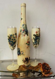 How to Decoupage a Bottle | Bottle And Glasses decoupage by naraosart