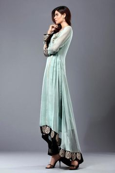 Stunning floor length sky blue anarkali with black  silver border.