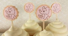 Elephant Cupcake Toppers Baby Shower Gender by LazyDayCottage