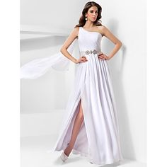Formal Evening/Military Ball Dress A-line/Princess One Shoulder Floor-length Chiffon Dress – USD $ 99.99