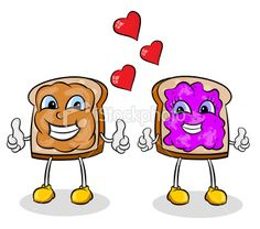 Today, I Think, is Like a PB and Jelly Sandwich Jelly Bread, Free Vector Art, Peanut Butter, Clip Art, Cartoon, Illustration, Bridesmaids, Royalty, Embroidery