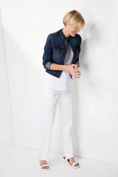 Adding a pop of colour: the denim jacket finishes off the white on white trend. Color Pop, Colour, Shoe Shop, Fashion Online, Fashion Accessories, Plus Size, Clothes For Women, Denim, Lady